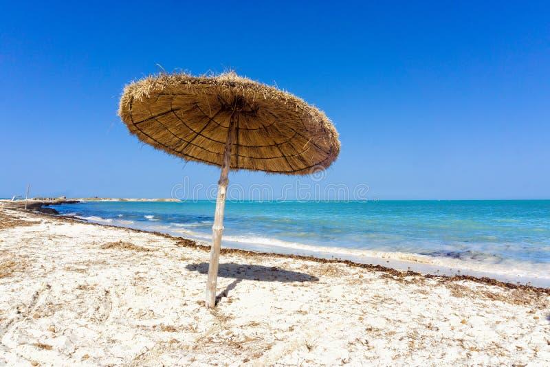 Beach with umbrella on the Mediterranean Sea in Djerba, Tunisia. Beach landscape with umbrella on the Mediterranean Sea in Djerba, Tunisia stock image