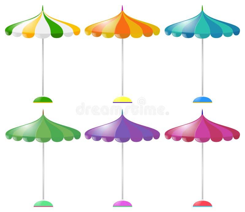 Beach umbrella in six different colors vector illustration