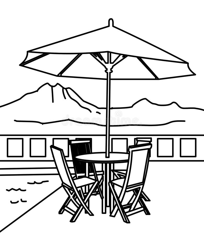 Download Beach Umbrella And Table Coloring Page Stock Illustration