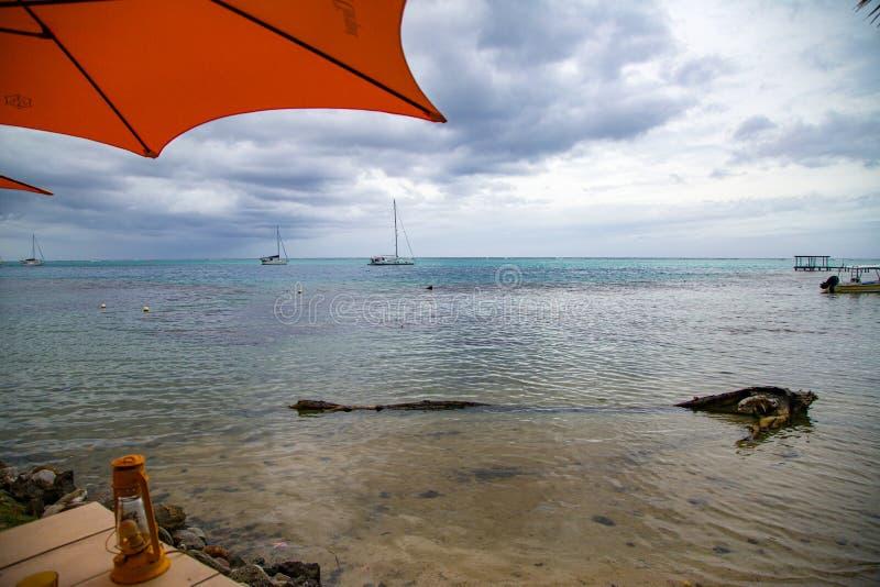 Beach Umbrella in Tahiti. An orange beach umbrella near the ocean`s edge on a beach in Tahiti, French Polynesia royalty free stock image