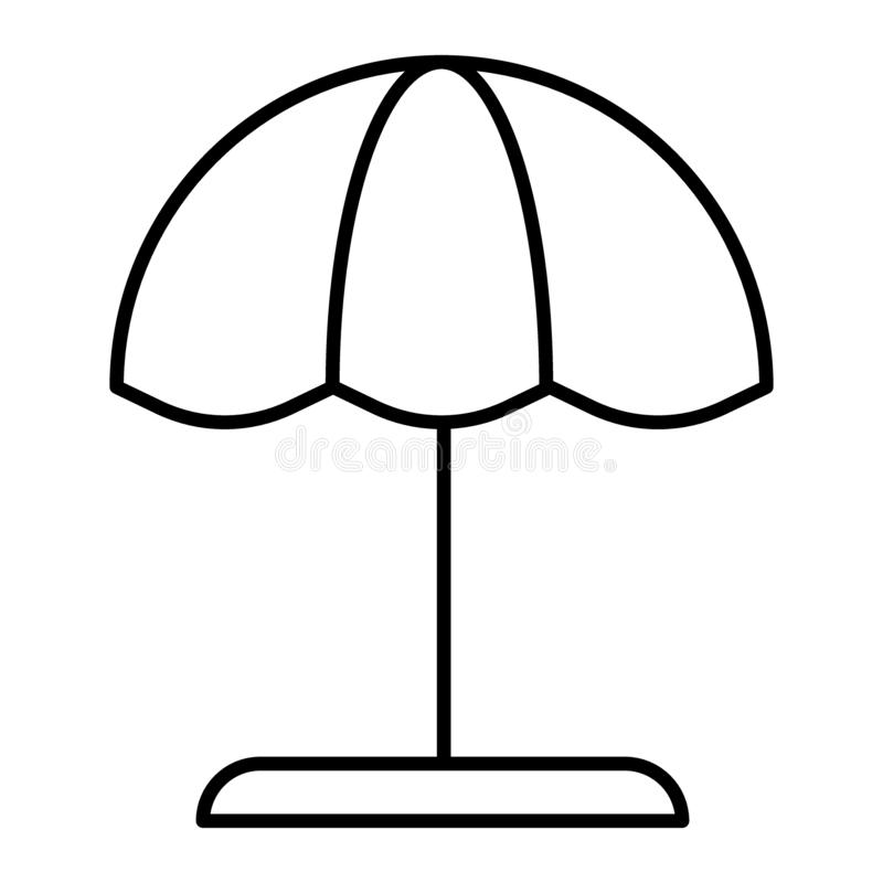 Beach umbrella thin line icon. Parasol vector illustration isolated on white. Vacation card outline style design royalty free illustration