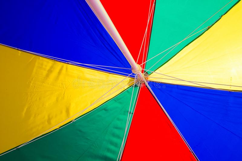 Beach Umbrella undersurface colourful. Trip tropical beah holidays theme wallpaper royalty free stock image