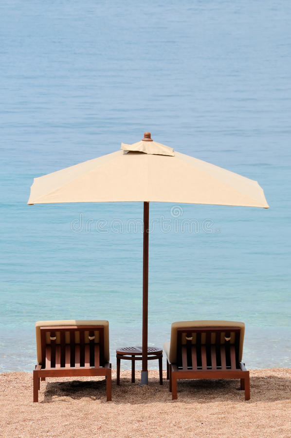Free Beach Umbrella With Two Chairs Stock Photos - 19746873