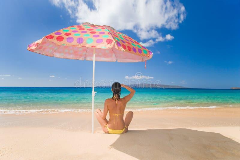 beach umbrella woman royalty free stock photo