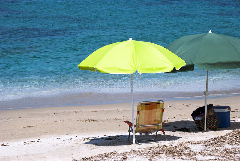 Download Beach umbrellas stock image. Image of beach, lounger - 25875499