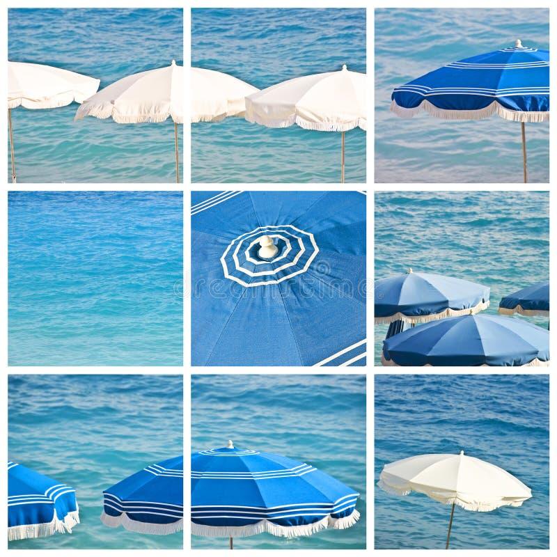 Beach umbrellas collage. Beach umbrellas and blue sea collage royalty free stock photos