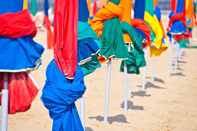 Beach umbrellas, Deauville. Beach umbrellas in Deauville, France royalty free stock image