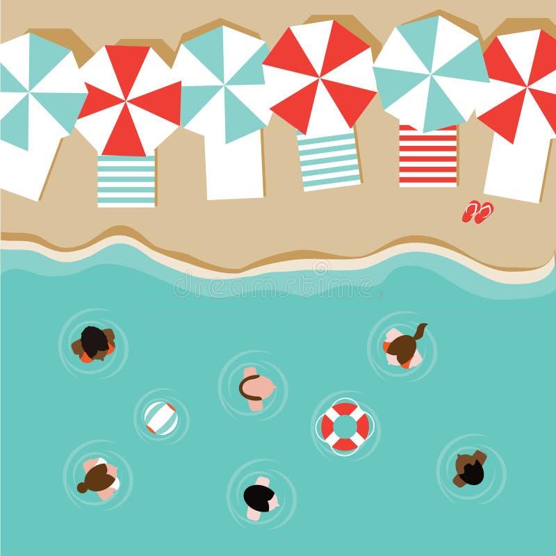 Beach umbrellas and people flat design EPS 10 vector stock illustration