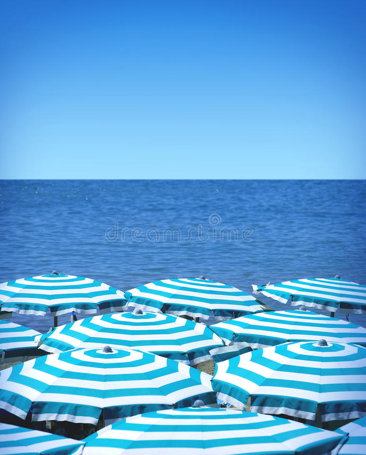 Download Beach umbrellas and sea stock photo. Image of group, packed - 41833792