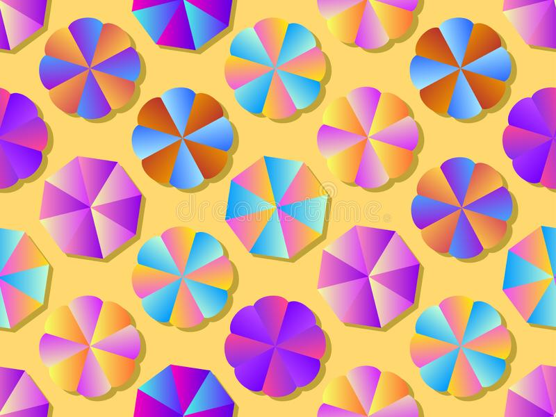 Beach umbrellas seamless pattern with colorful gradient. Summer background. Vector. Illustration vector illustration