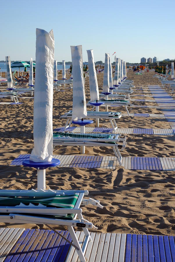 Download Beach umbrellas and sunbed stock image. Image of ocean - 26291669