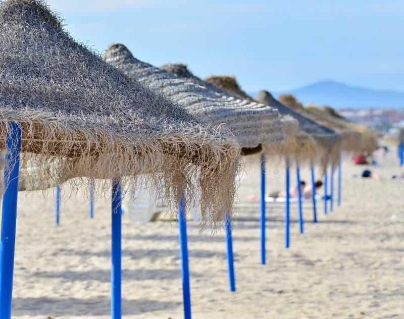 Beach With Umbrellas. Stock Photo