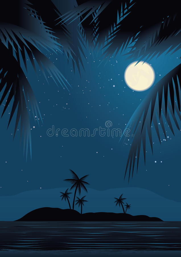 Beach Under Starry Sky Royalty Free Stock Image