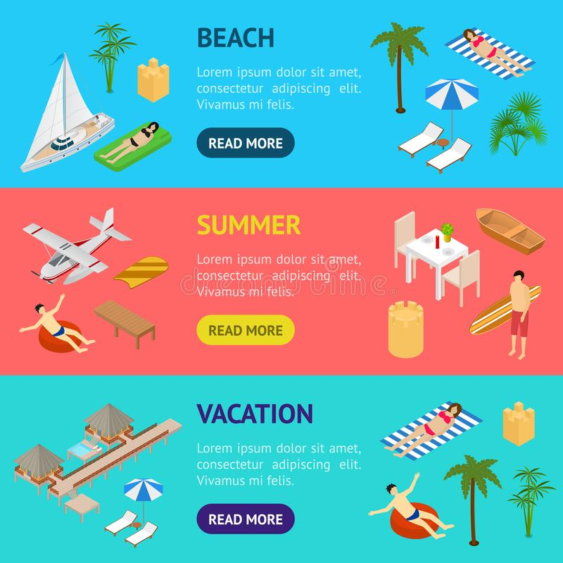 Beach Vacation Banner Horizontal Set 3d Isometric View. Vector vector illustration