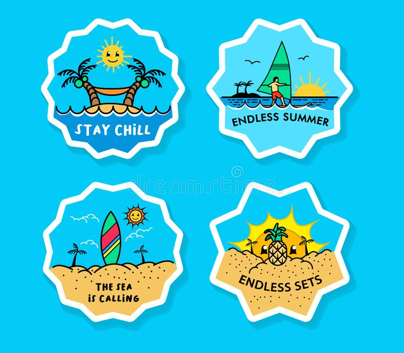 Beach Vacation Bold Line Sticker Label royalty free illustration