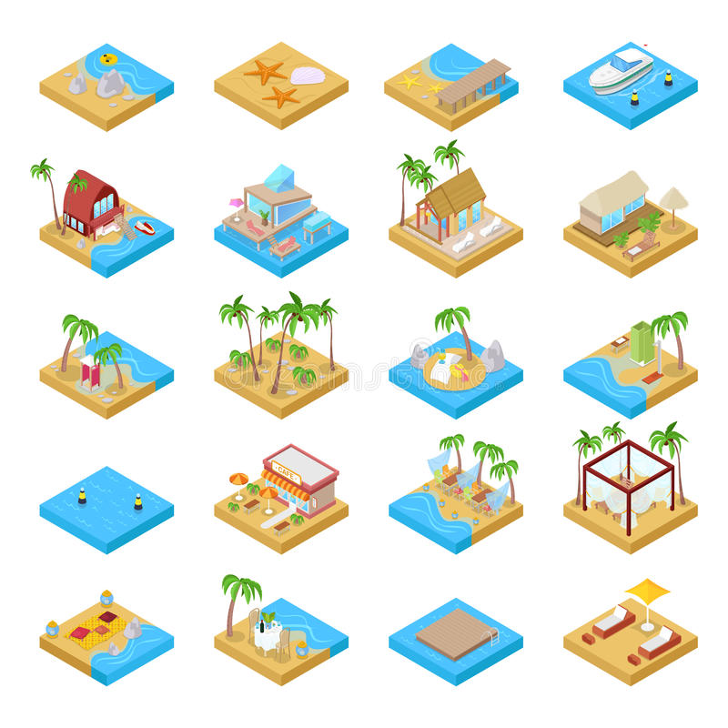 Beach Vacation Collection with Bungalow, Boat, Palm Trees and Tropical Elements. Isometric flat 3d illustration vector illustration