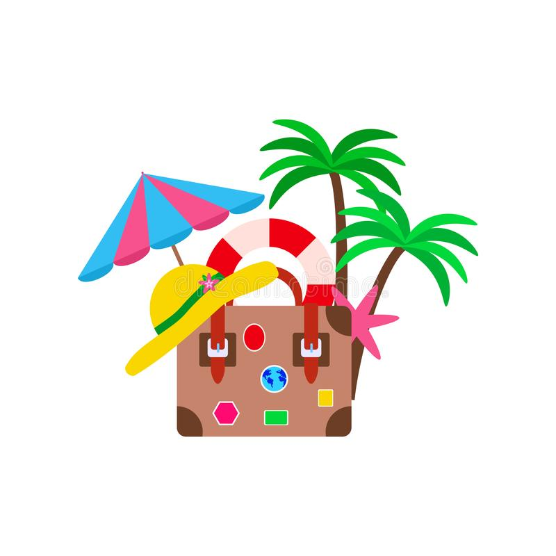 Beach vacation concept, retro suitcase and umbrella and palm tree on white background royalty free illustration