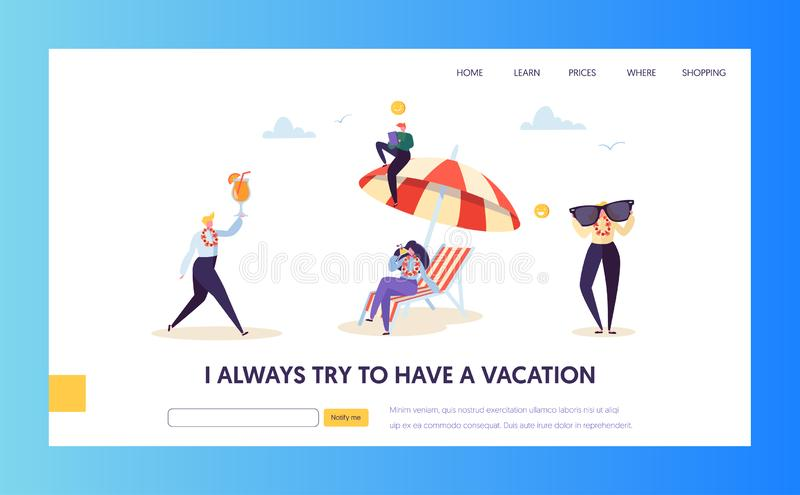 Beach Vacation for Corporate Business Characters Landing Page. Happy Office Manager Relax with Tropical Cocktail. Happy Business Characters Vacation Landing Page stock illustration