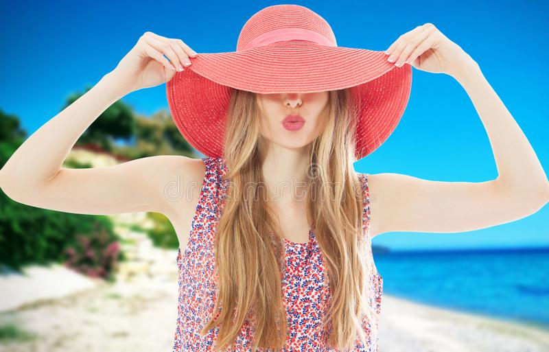Beach vacation fun woman in sun happy on summer holidays on tropical beach. Beautiful multiethnic asian chinese / caucasian model royalty free stock photography