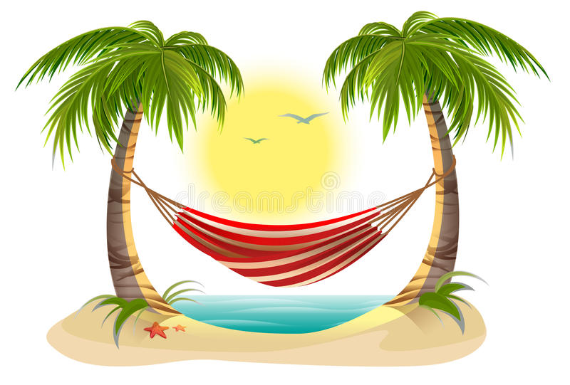 Beach vacation. Hammock between palm trees royalty free illustration