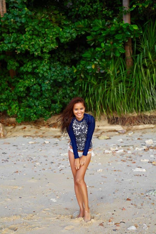 Beach Vacation. Happy Woman Having Fun. Summer Holidays Travel. royalty free stock photography