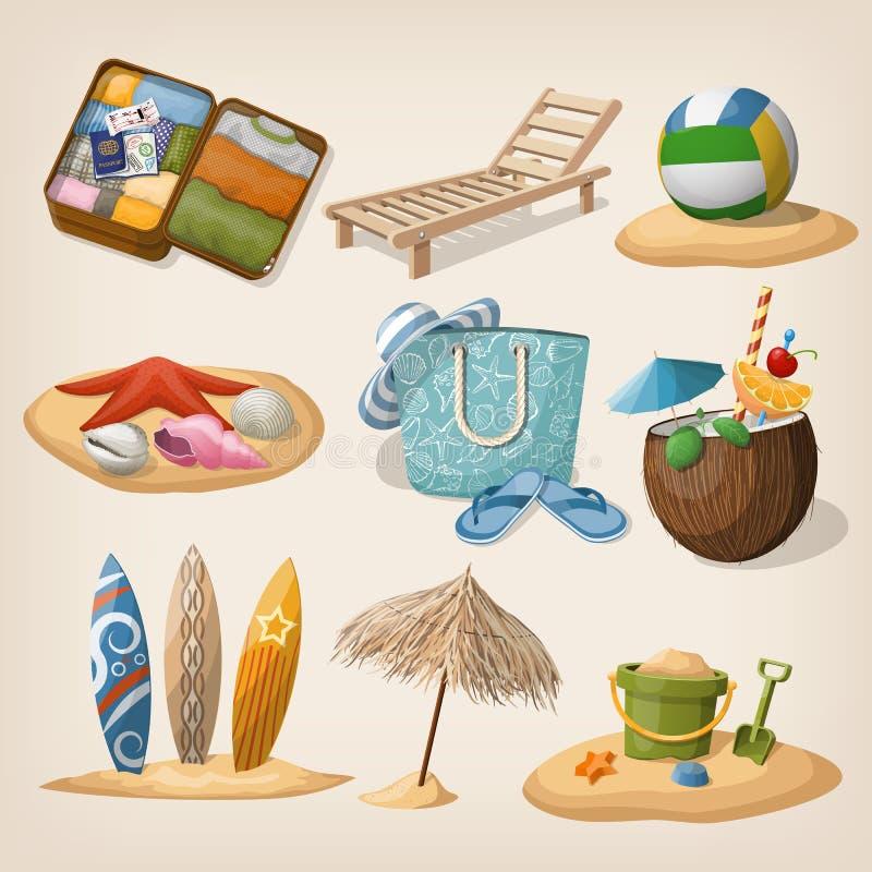 Beach vacation icon set. Vector illustration royalty free illustration
