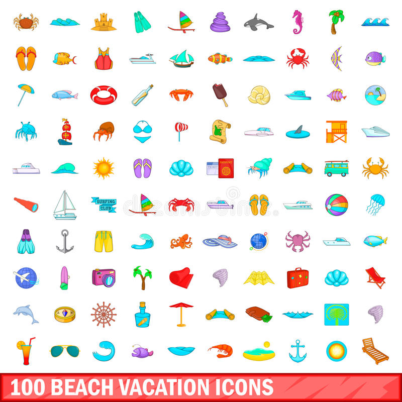100 beach vacation icons set, cartoon style vector illustration