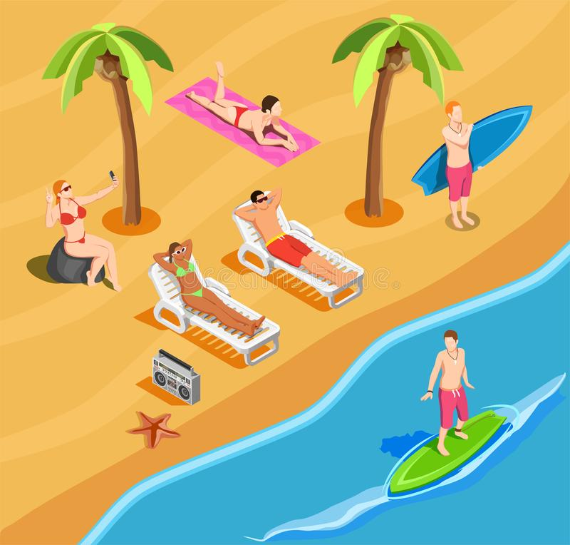 Beach Vacation People Isometric Composition stock illustration