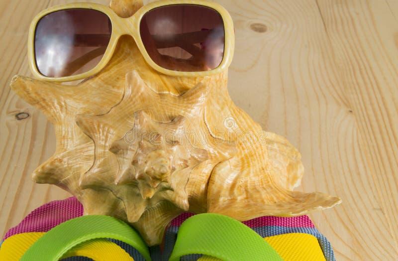 Beach vacation. Sunglasses, flip flops, sea shell on wooden background. Beach vacation. Beach accessories. Sunglasses, flip flops, sea shell on wooden background stock photo
