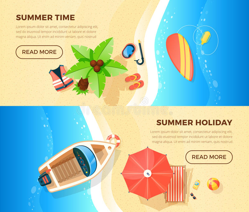 Beach Vacation Top View 2 Banners royalty free illustration