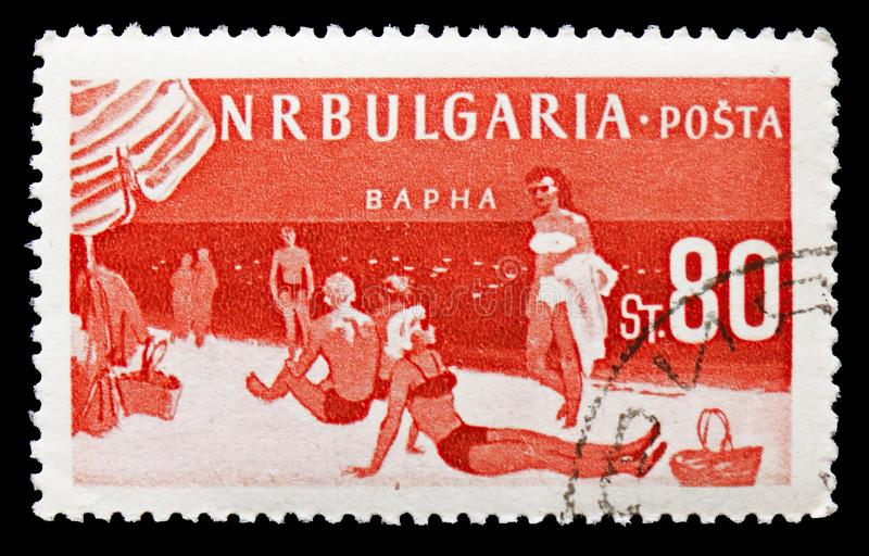 Beach of Varna on the Black Sea, Bulgarian Recreation Facilities and Places serie, circa 1958. MOSCOW, RUSSIA - SEPTEMBER 15, 2018: A stamp printed in Bulgaria royalty free stock photography