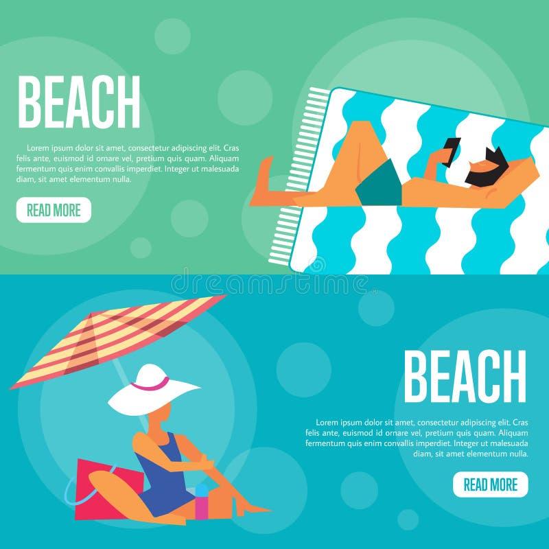Beach Website Template Set. Horizontal banners royalty free illustration