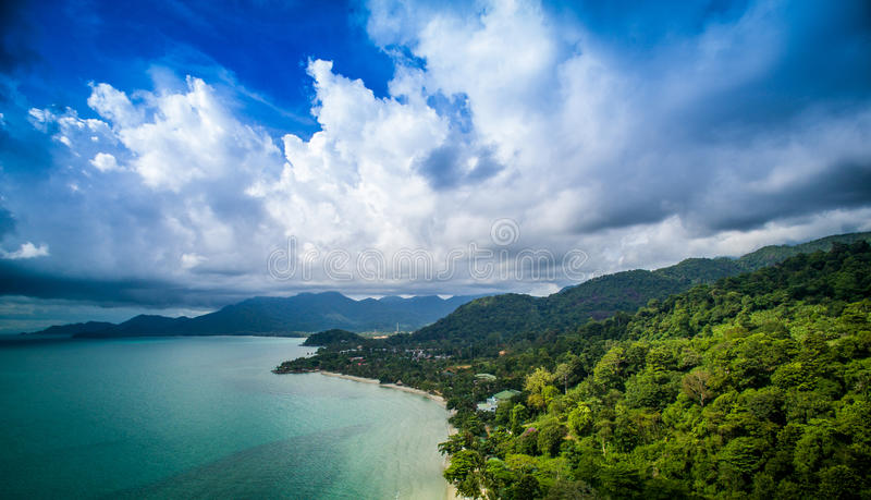Beach view form aerial shot. Koh-Chang Beach view aerial shot Trat Thailand stock photography