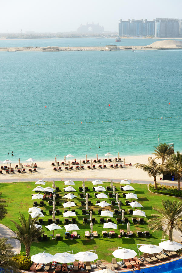 Beach With A View On Jumeirah Palm Man-made Island Stock Photography