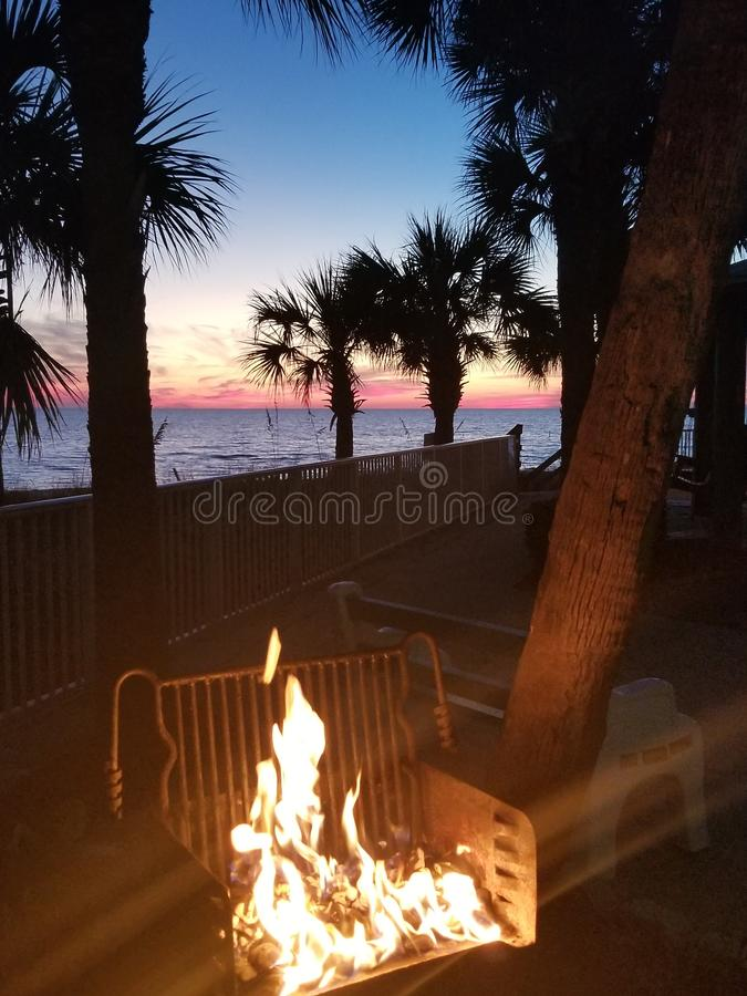 Beach View Night Fire. Relax, vacation royalty free stock photo