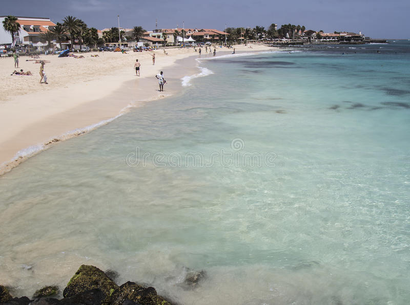 Beach view from pier at Santa Maria, Sal, Cape Verde royalty free stock image