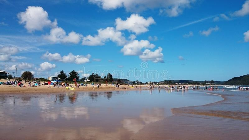 Beach View @ Umina beach, Australia. Beautiful beach view with blue sky and white clouds at Umina Beach, Australia stock image