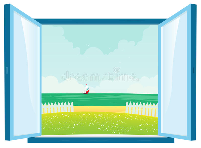 Beach View By The Window stock illustration