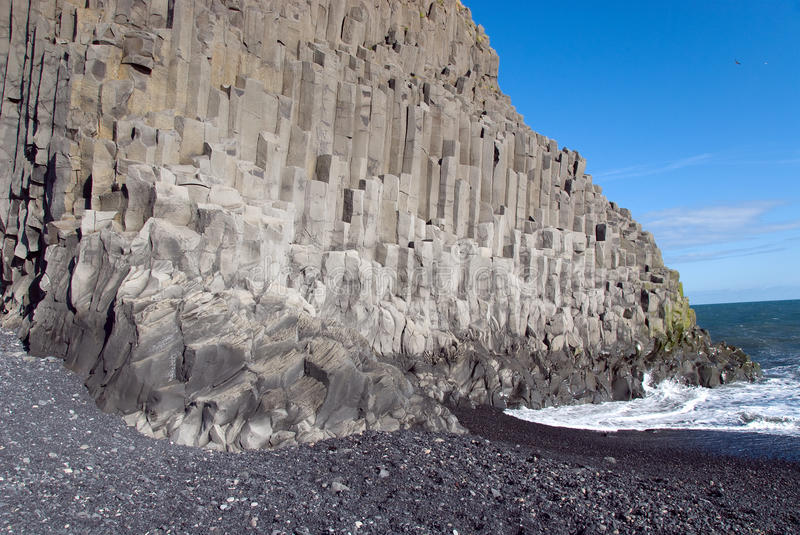 Beach at Vik in Iceland. Beach of the organ pipes in Vik in Iceland royalty free stock photo