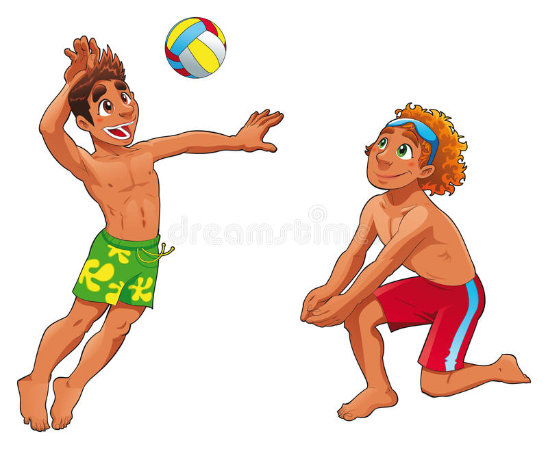 Beach Volley guys vector illustration