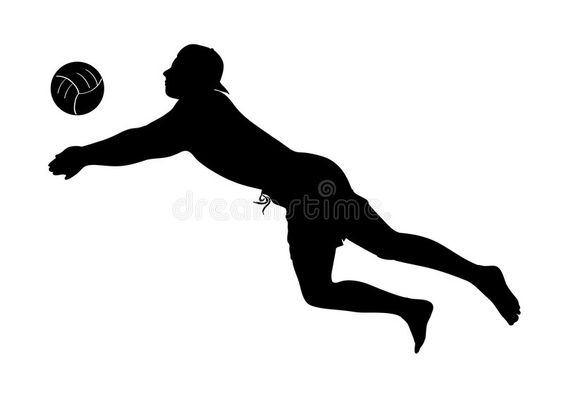 Beach volley player silhouette - man royalty free stock image