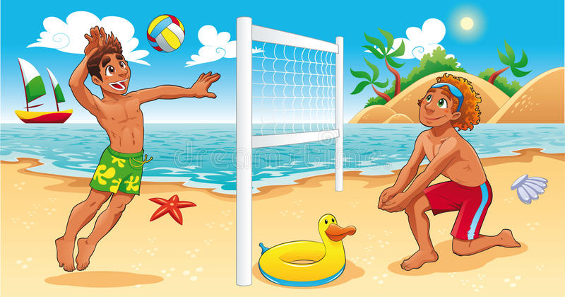 Beach Volley scene. royalty free illustration