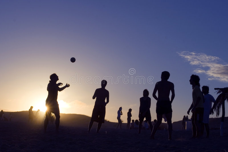 Download Beach-Volley at sunset stock image. Image of backlight - 498085