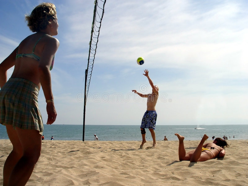 Download Beach Volleyball stock image. Image of glare, casual, enjoying - 56885