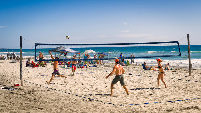 Beach Volleyball, Del Mar California stock photo