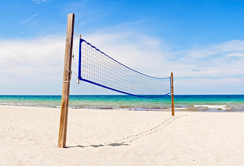 Beach Volleyball field and net in Miami Florida. On a beautiful sunny summer day royalty free stock photography