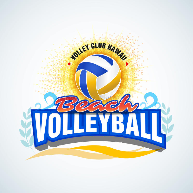 Beach volleyball label, emblem, logo, icon, t-shirt apparel design. Beach volleyball logotype template. Vector format. Beach volleyball label, emblem, logo stock illustration