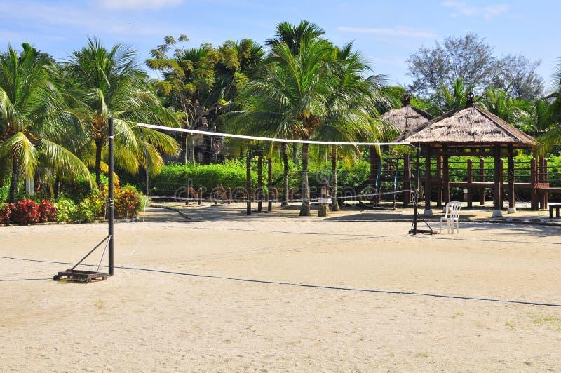 Beach volleyball net stock photos