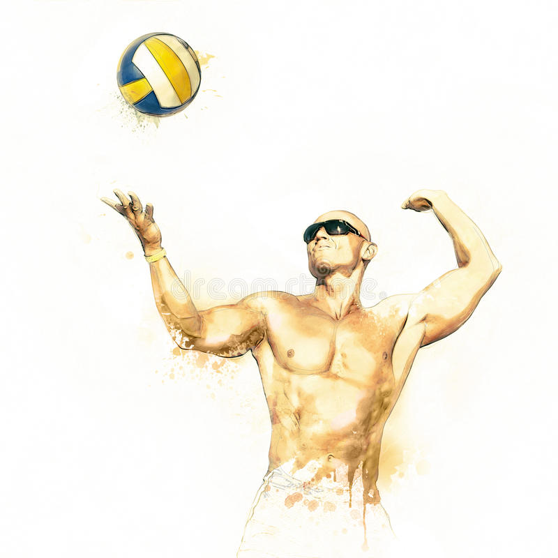 Beach volleyball player in action 3. Beach volleyball player in action water color illustration stock illustration