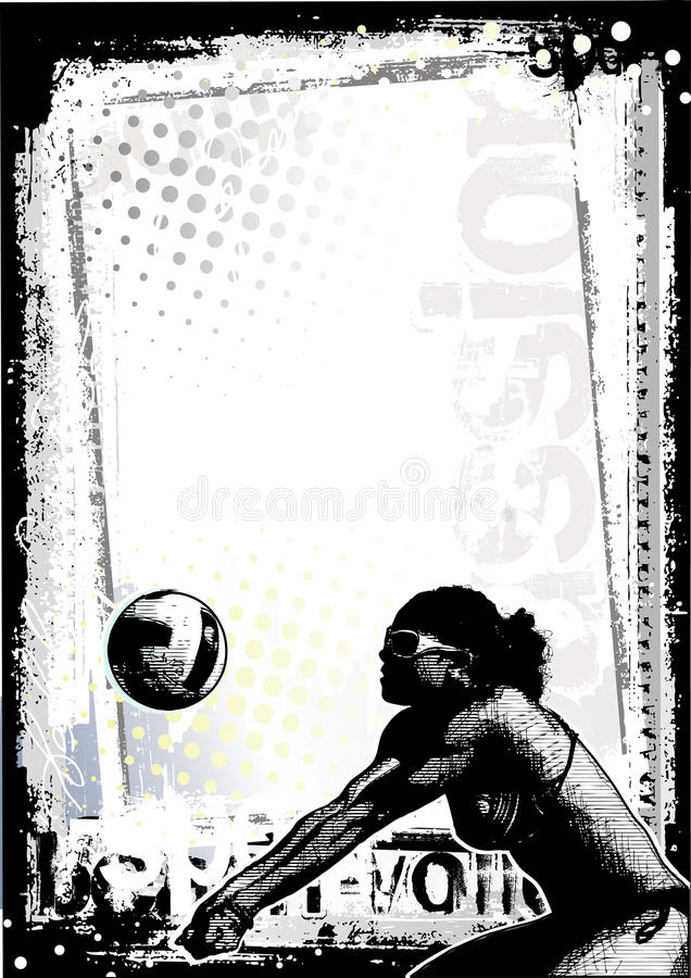 Download Beach volleyball poster 1 stock vector. Illustration of grunge - 14884624